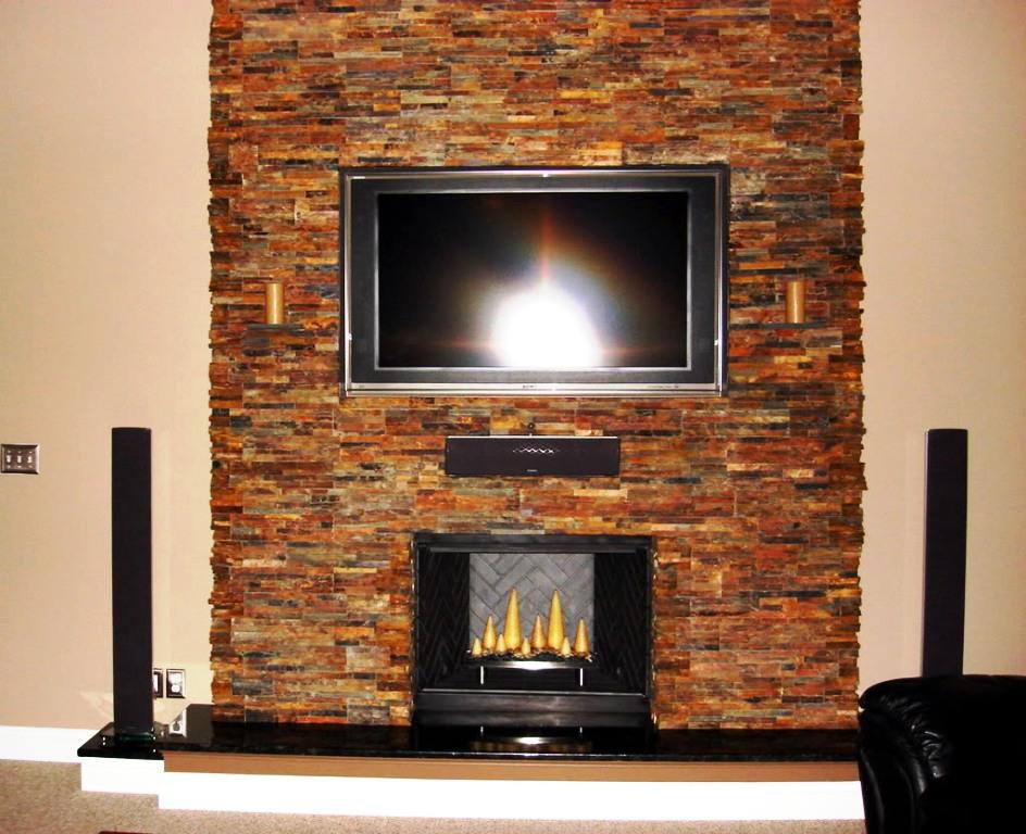Image Of Stacked Stone Fireplace Cost