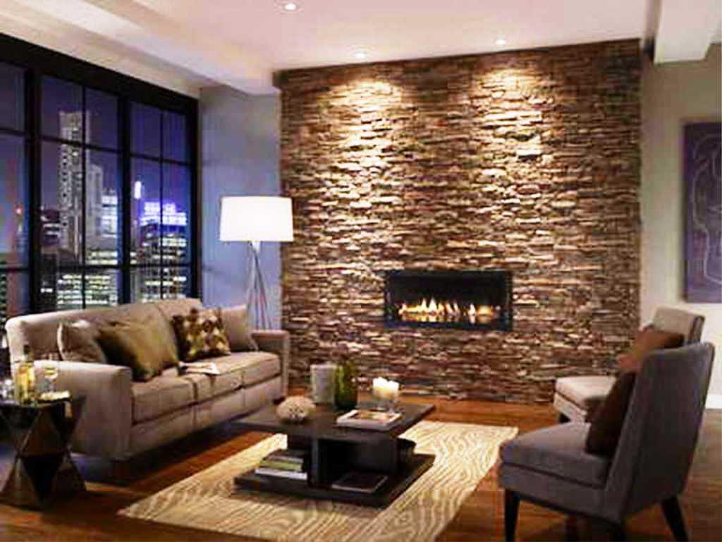Image Of Stacked Stone Fireplace Surround