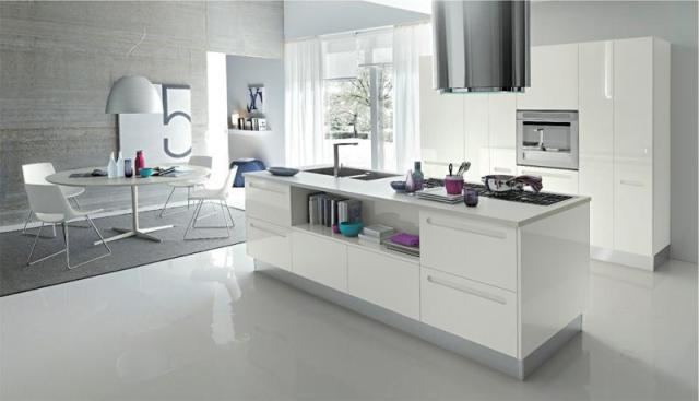 Image Of: White Modern Kitchen With Island Design Ideas